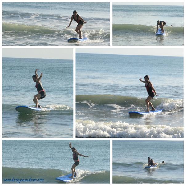 Juliet surfing in Baler's Sabang Beach