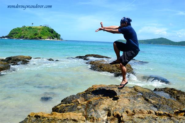 Jump shot at Bolog Islands, El Nido, Palawan