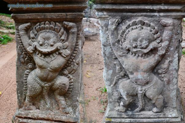 Garuda and a lion-headed figure at Preah Khan - Siem Reap