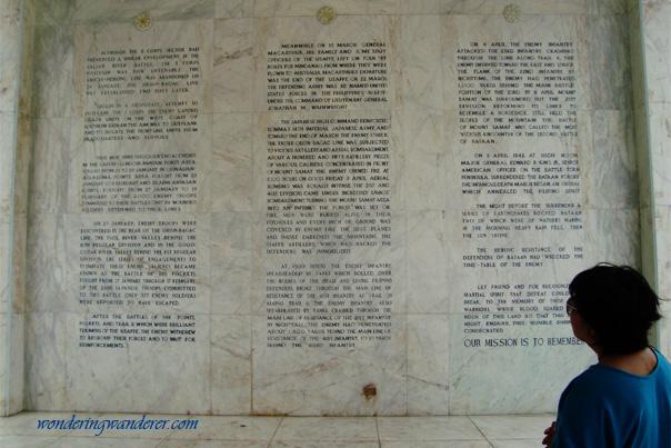 Inscribed details of the Battle of Bataan - Mount Samat National Shrine