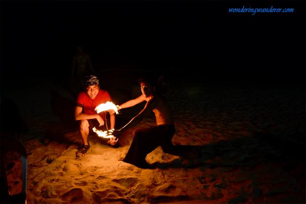 Fire dance exhibition at White Beach Puerto Galera