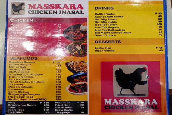 Masskara Chicken Inasal Menu