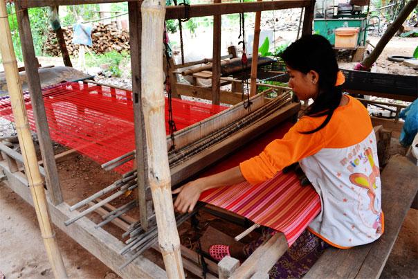 Weaving silk in Silk Island, Phnom Penh