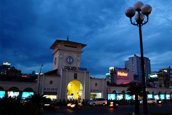 Ben Thanh Market building in Vietnam